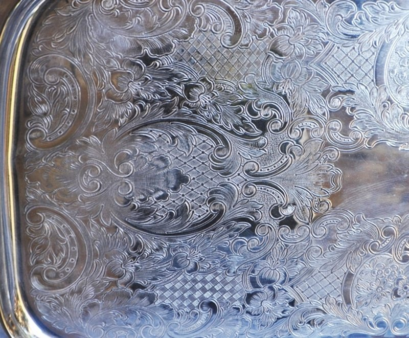LARGE SILVERPLATE ENGLISH SILVER MFG CO FOOTED TRAY - 3