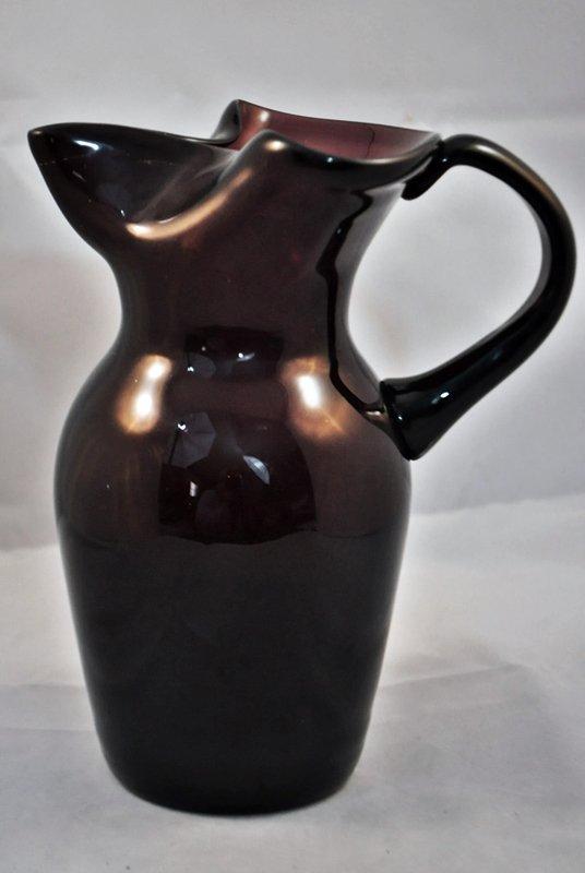 HD BLOWN W. VA REGION TRI FOLD AMETHYST GLASS PITCHER