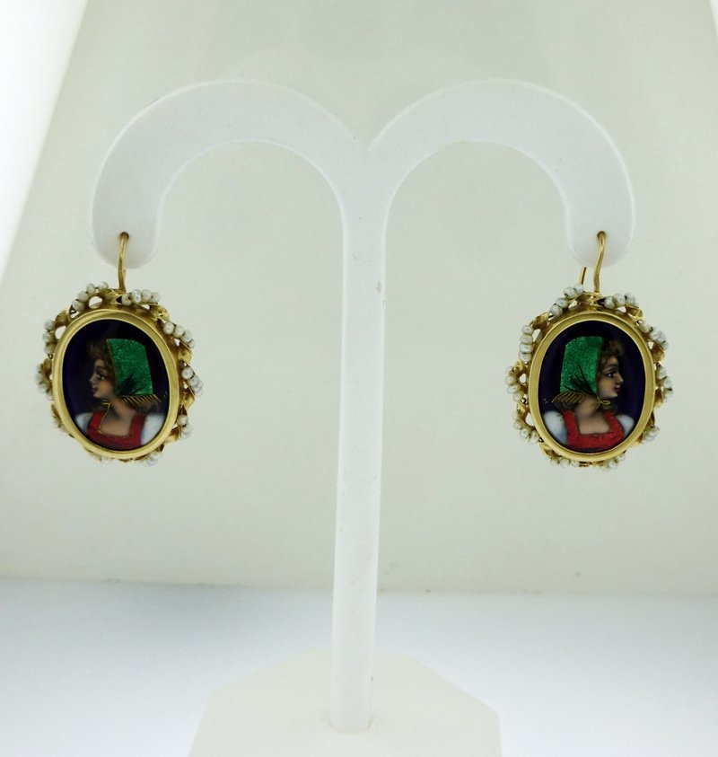 ANTIQUE FRENCH 14k GOLD PORTRAIT EARRINGS WITH PEARLS