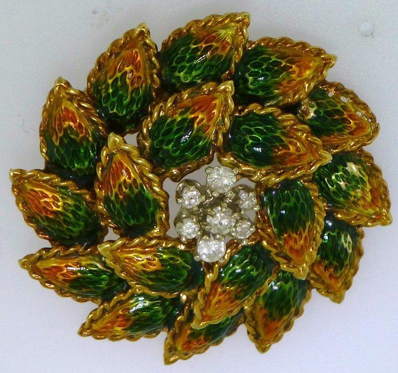 VINTAGE ESTATE 14k GOLD ENAMEL +  DIAMOND LEAVES BROOCH