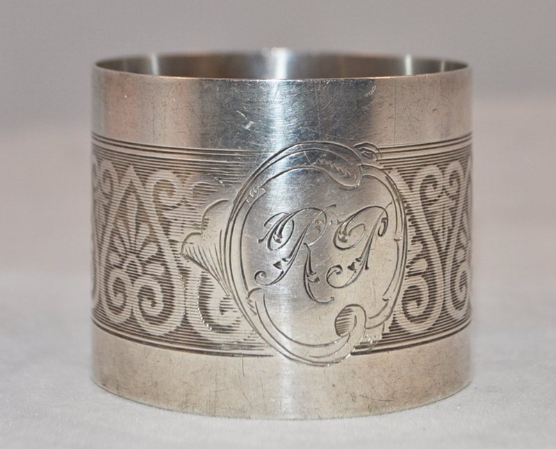 ANTIQUE  FRENCH STERLING SILVER ORNATE NAPKIN RING