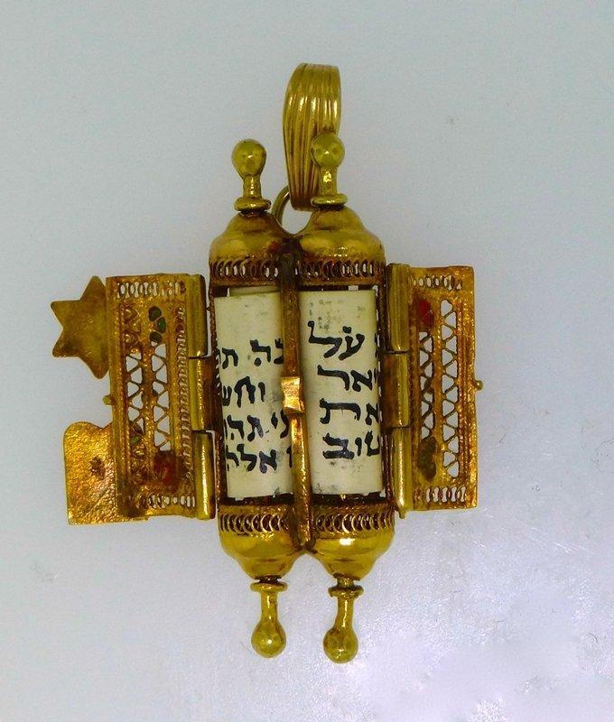 VINTAGE RARE 14k KABBALAH JUDAICA TORAH SCROLL PENDANT - 2