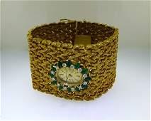 ESTATE 1940s 18k EMERALD  DIAMOND BELVIL SWISS  WATCH