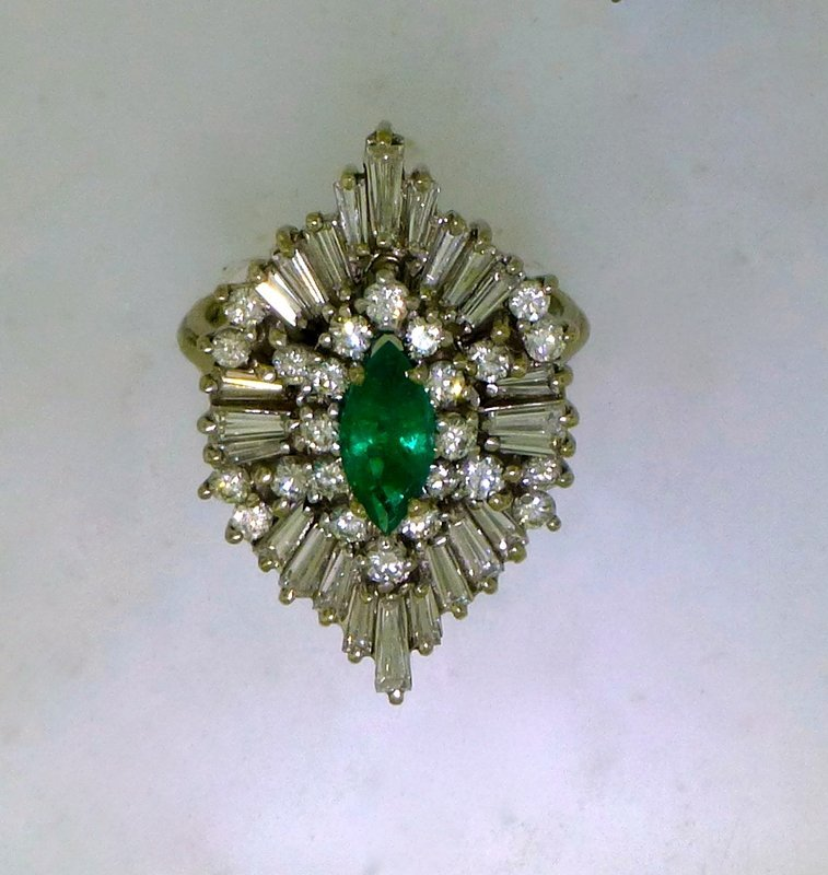 VINTAGE 14k EMERALD AND DIAMOND DINNER RING