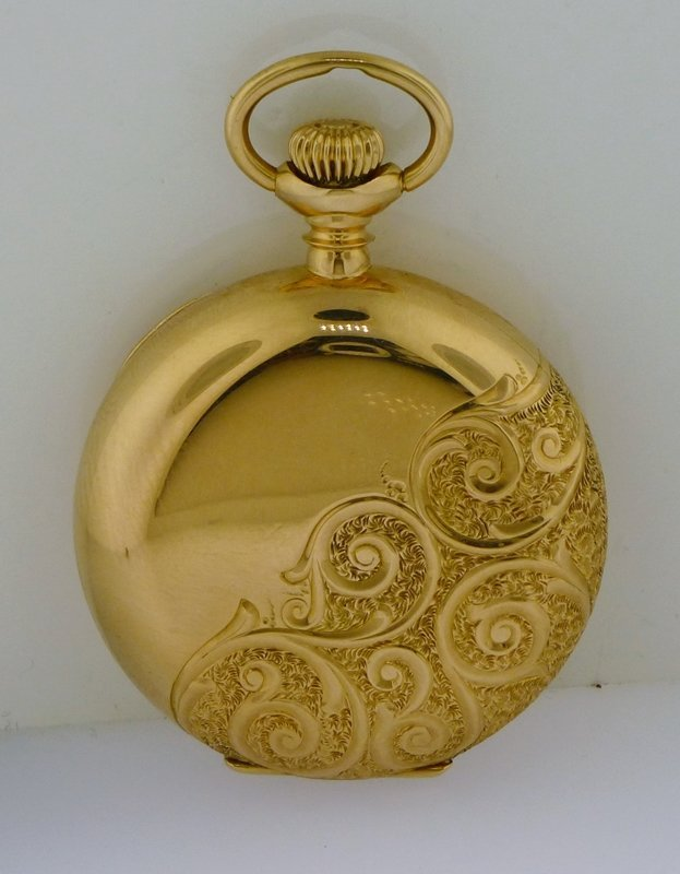 ELGIN 1916 14k GOLD ORNATE HUNTER CASE POCKET WATCH - 2