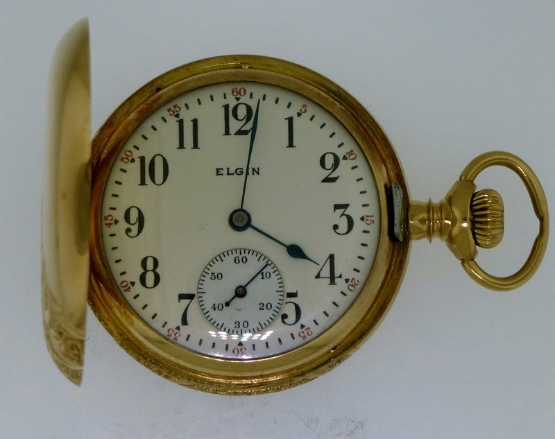 ELGIN 1916 14k GOLD ORNATE HUNTER CASE POCKET WATCH - 3