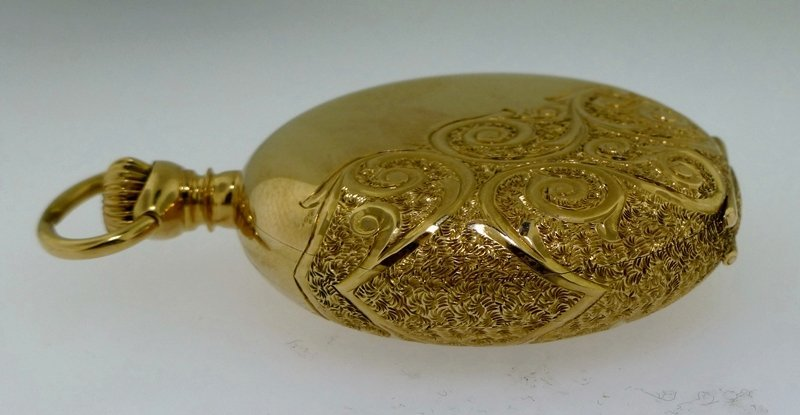 ELGIN 1916 14k GOLD ORNATE HUNTER CASE POCKET WATCH - 4