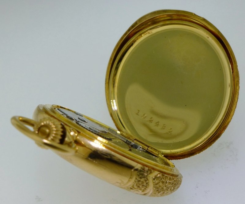 ELGIN 1916 14k GOLD ORNATE HUNTER CASE POCKET WATCH - 6