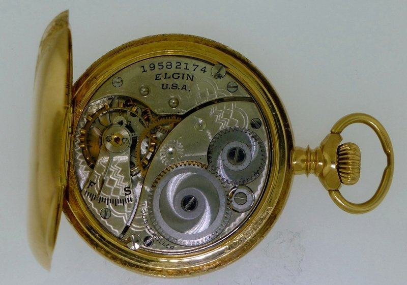 ELGIN 1916 14k GOLD ORNATE HUNTER CASE POCKET WATCH - 8