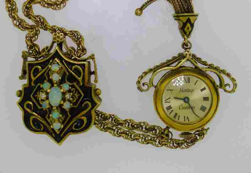 ESTATE 14K VICTORIAN STYLE PENDANT WATCH W OPAL SLIDE