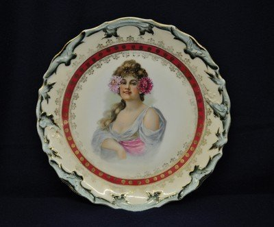 BAVARIAN 1930s MAIDEN PORTRAIT TRANSFER WALL PLAQUE XW