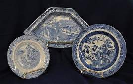 ENGLISH VICTORIAN BLUE TRANSFER WARE WILLOW  PLATES XW