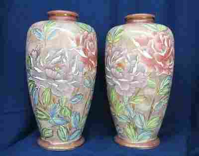 CHINESE MATCHING PORCELAIN 1980s LOTUS MANTLE VASES XW
