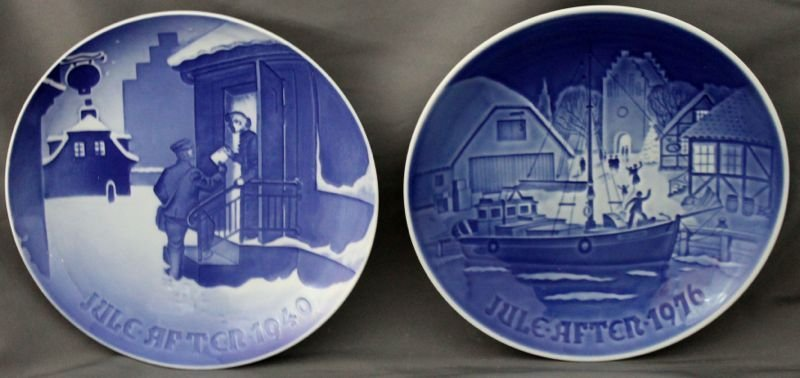 2 pc 1940 COPENHAGEN BING & GRONDAHL JULE AFTER PLATES