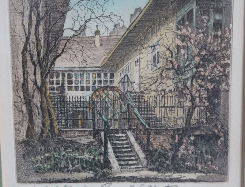 HAND COLORED HERTA CZOERNIG ETCHING SCHUBERT'S HOME - 4