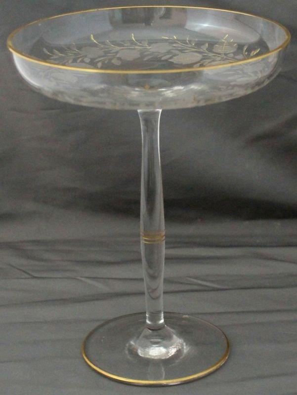 1930s OHIO, W VA BLOWN GLASS PRUNUS ETCHED GILT COMPOTE