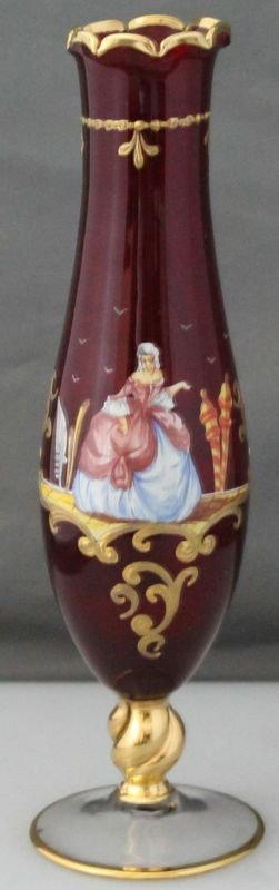 VENETIAN 1950s CRANBERRY GLASS HB ENAMELED GLASS VASE