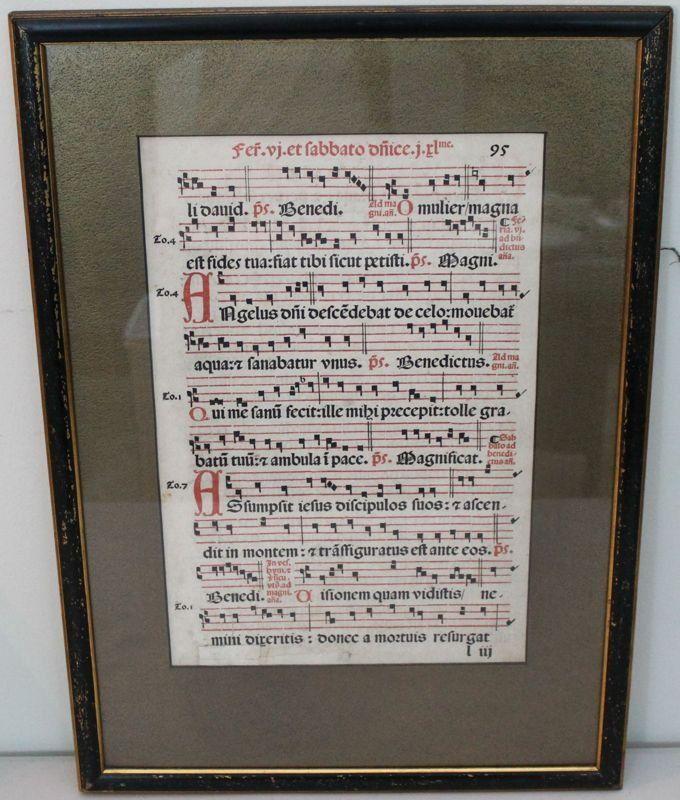 ILLUMINATED MUSIC  MANUSCRIPT LEAF ON VELLUM