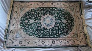 VINTAGE  PERSIAN TABRIZ AREA RUG 6.5X4 ft. GREEN+CREAM