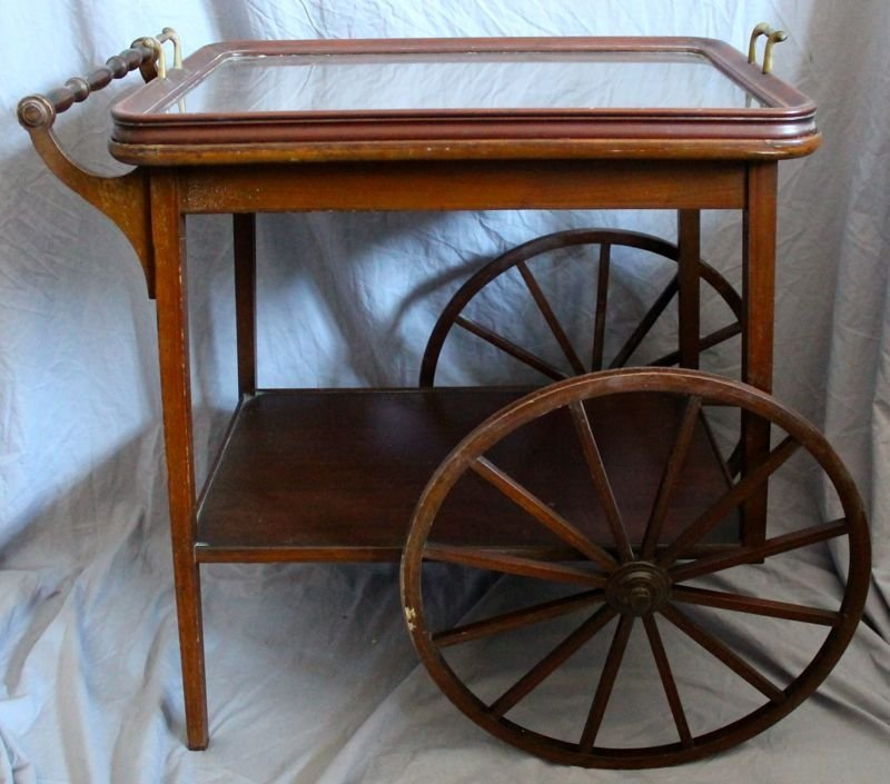 MAHOGANY TEA CART WITH REMOVABLE GLASS TRAY