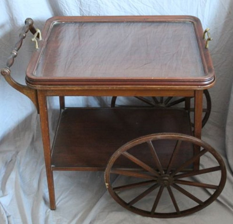 MAHOGANY TEA CART WITH REMOVABLE GLASS TRAY - 2