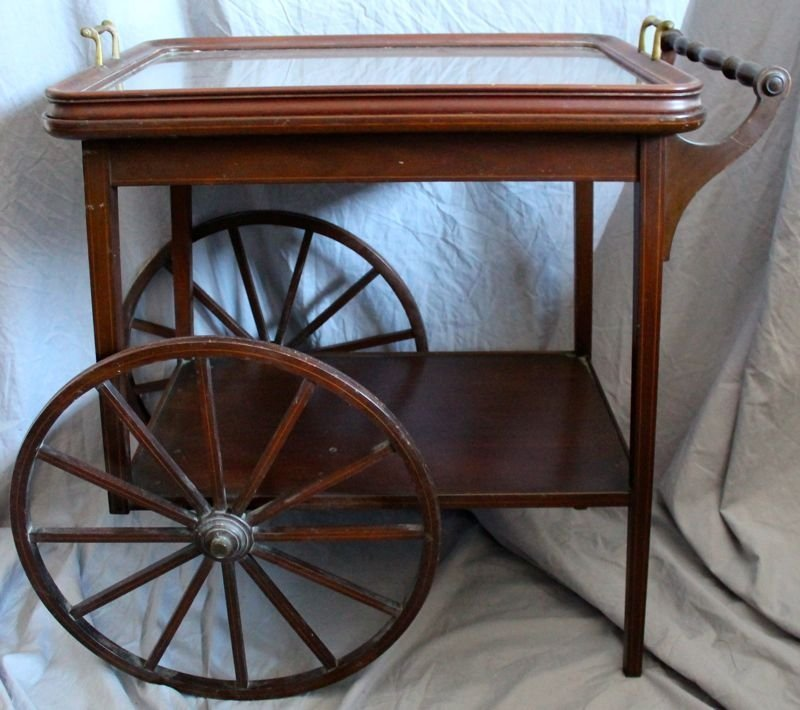 MAHOGANY TEA CART WITH REMOVABLE GLASS TRAY - 5