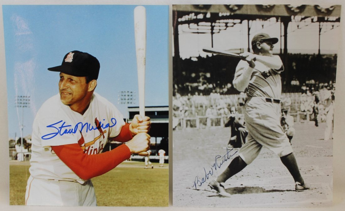2 SIGNED 8 X 10 PHOTOS BABE RUTH STAN MUSIAL XZ