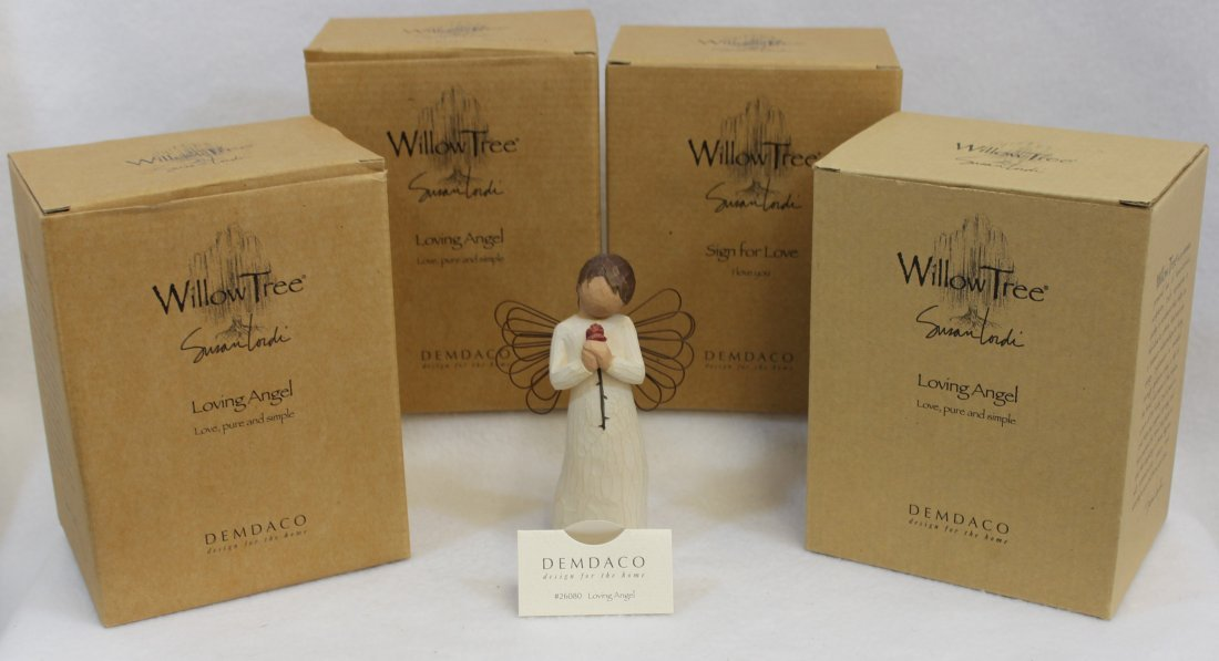 LOT of 4 MIB WILLOW TREE ANGELS SIGN FOR LOVE LOVING XT - 2