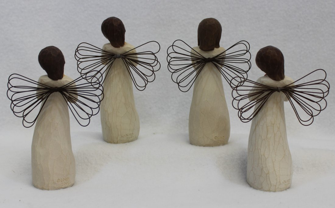 LOT of 4 MIB WILLOW TREE ANGELS SIGN FOR LOVE LOVING XT - 4