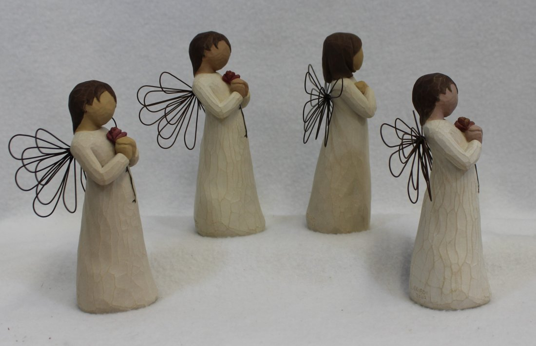 LOT of 4 MIB WILLOW TREE ANGELS SIGN FOR LOVE LOVING XT - 5