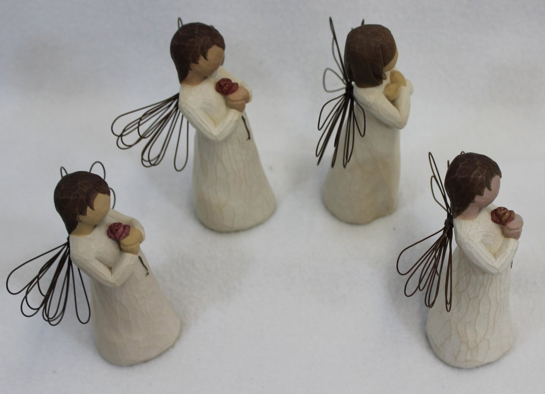 LOT of 4 MIB WILLOW TREE ANGELS SIGN FOR LOVE LOVING XT - 6