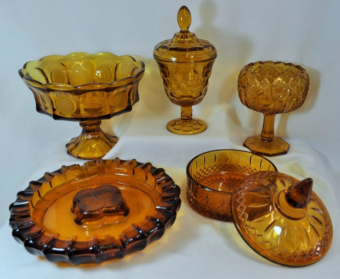 1958 FOSTORIA AMBER COIN GLASS + COMPOTE + 2 CANDIES XT