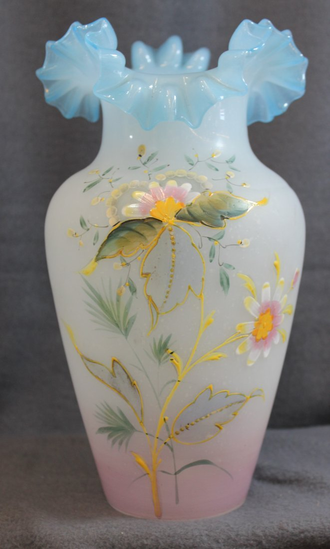 1900s BOHEMIAN HD BLOWN SPECKLED GLASS FLORAL VASE XW