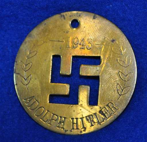 German Adolf Hitler 1943 Brass Pendant Xz