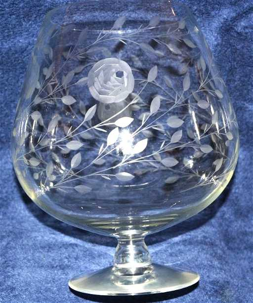 1920s Giant Rose Etched Lead Crystal Brandy Snifter Xj