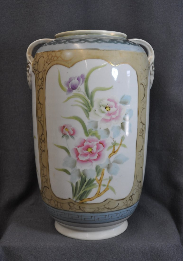 RARE PRE 1921 IMPERIAL NIPPON HP HANDLED LOTUS VASE XW