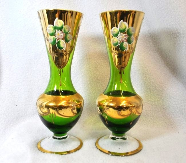 PR 1950s BOHEMIAN HP BLOWN GLASS FLORAL COLLAR VASES XW