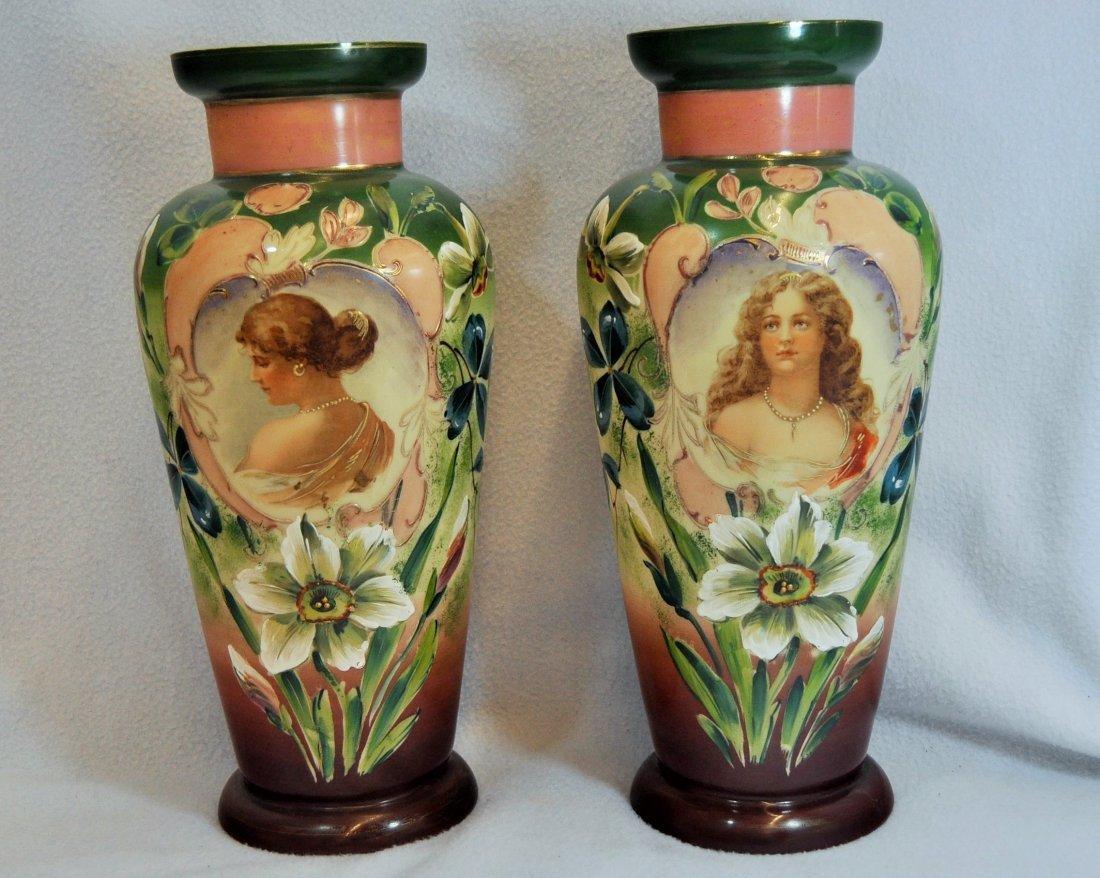 "BOHEMIAN 1905+ GLASS 14.5"" PORTRAIT MEDALLION VASES XW"