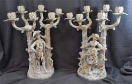 1910 2 NY RUDOLSTADT HD PAINTED PORCELAIN CANDELABRA XW