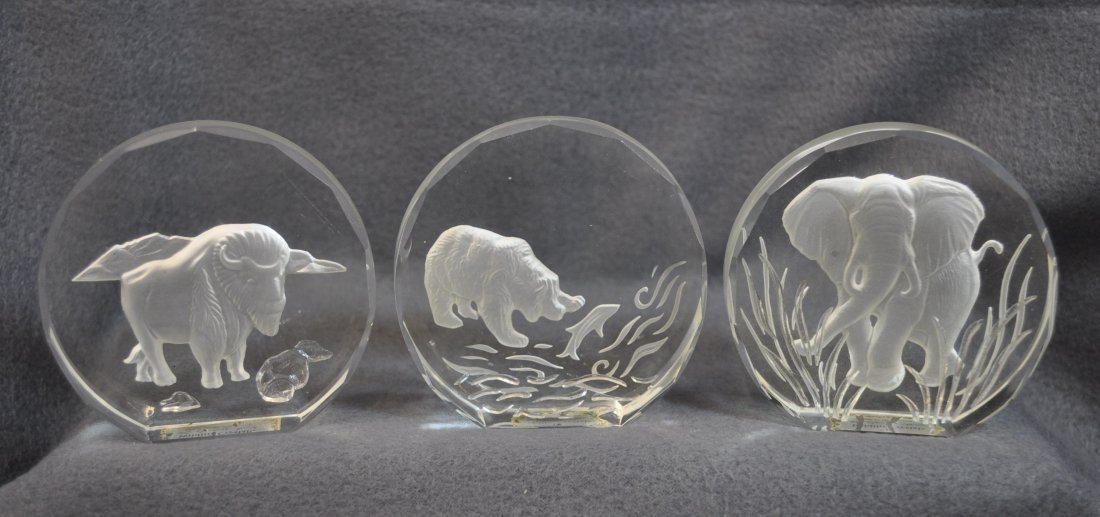 WILDLIFE CRYSTALS PAPERWEIGHTS 11 PCS DANBURY MINT XK - 2