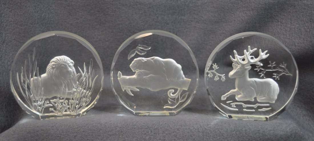 WILDLIFE CRYSTALS PAPERWEIGHTS 11 PCS DANBURY MINT XK - 3