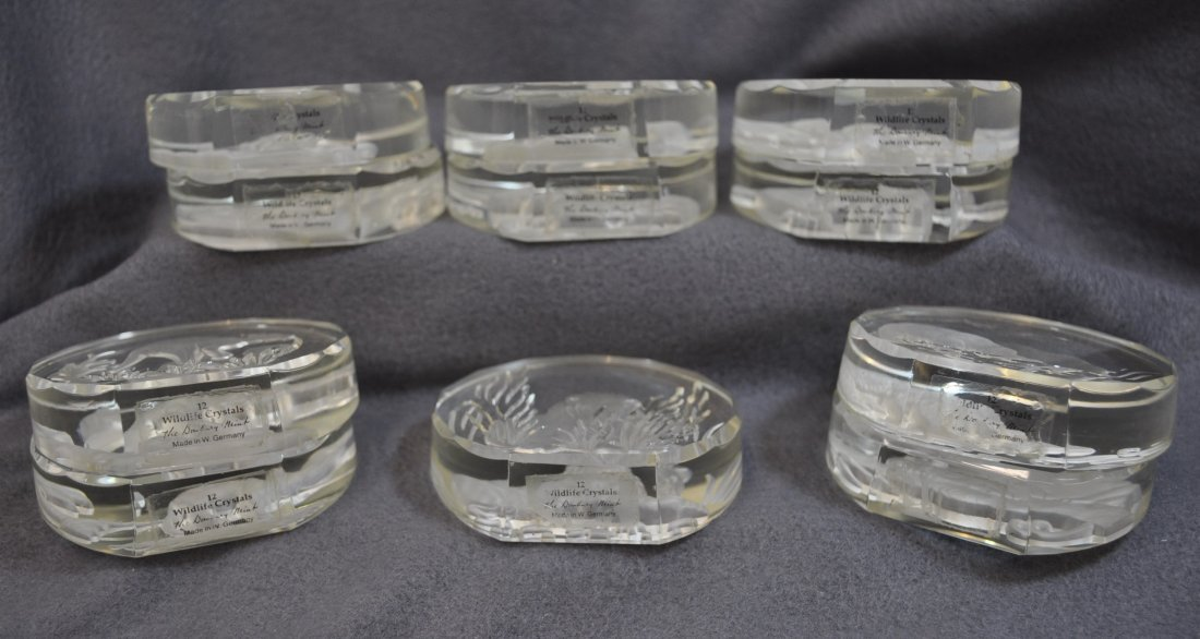 WILDLIFE CRYSTALS PAPERWEIGHTS 11 PCS DANBURY MINT XK - 6