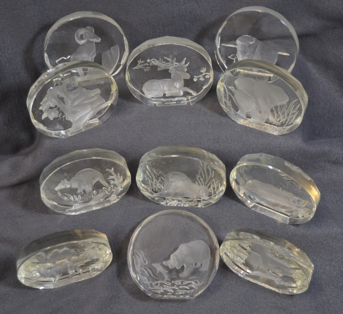 WILDLIFE CRYSTALS PAPERWEIGHTS 11 PCS DANBURY MINT XK - 8