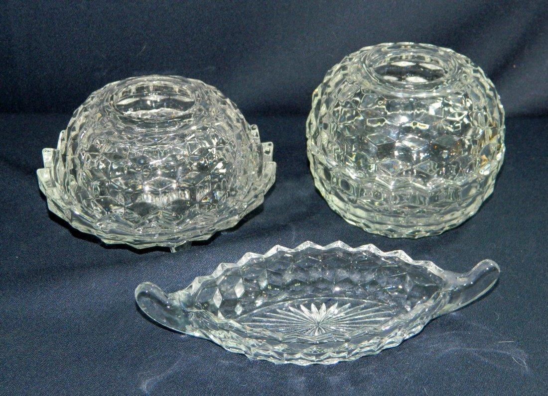 3pc FOSTORIA AMERICAN GLASS WINDSOR FAIRY LAMP CANOE XR