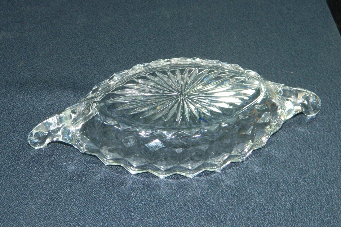 3pc FOSTORIA AMERICAN GLASS WINDSOR FAIRY LAMP CANOE XR - 6