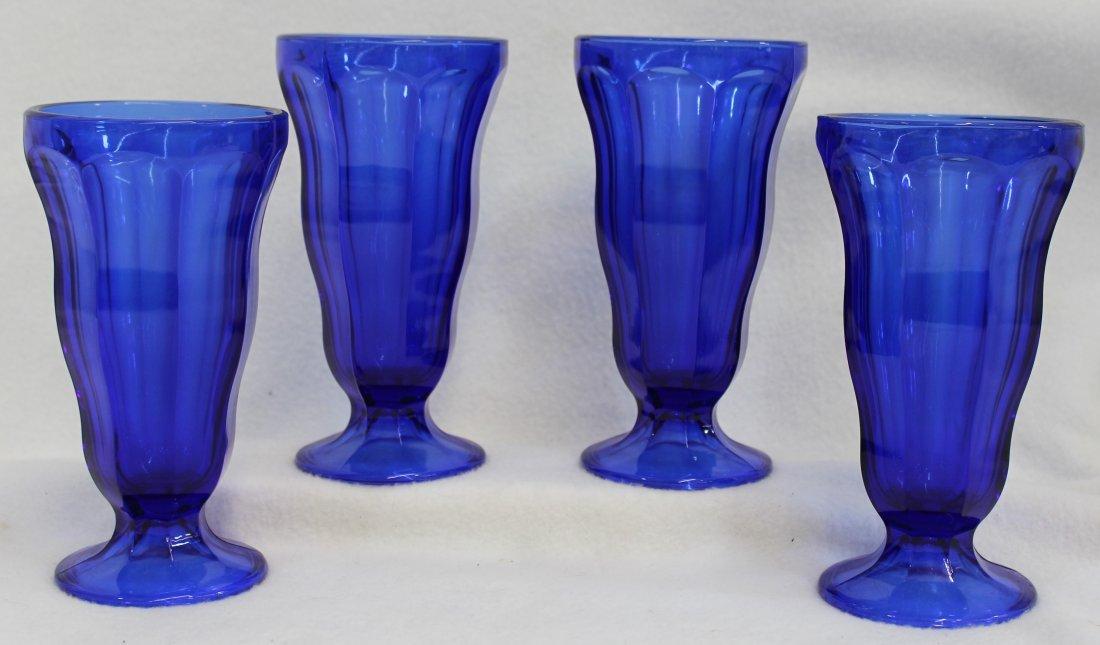 COBALT BLUE ANCHOR HOCKING SODA FOUNTAIN GLASSES 4 XK