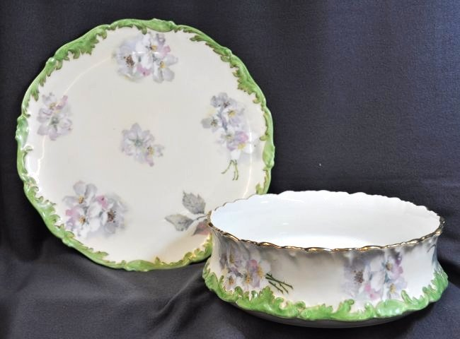 RARE T & V 1902+ LIMOGES LG PUDDING BOWL, UNDERPLATE XW
