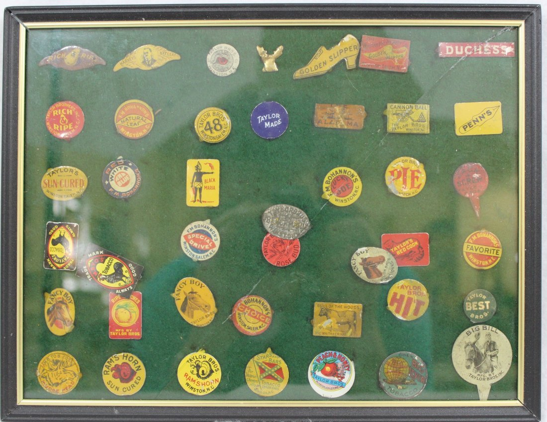 FRAMED COLLECTION VINTAGE PLUG TOBACCO TAGS  XT