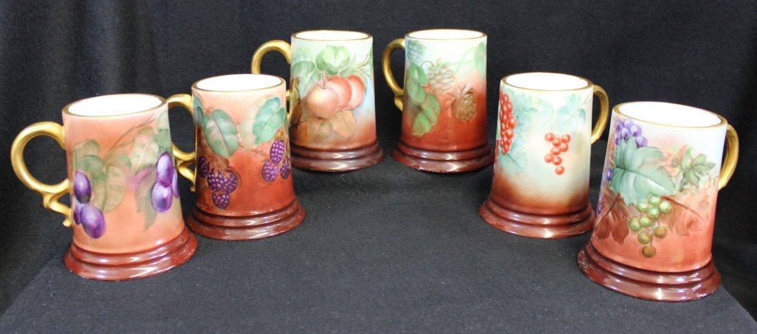 1890s PHILIP ROSENTHAL HP FRUIT BAVARIA COFFEE MUGS XW