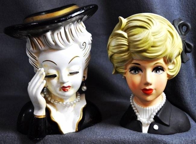 1960s TILSO, NAPCOWARE JAPANESE PORCELAIN HEAD VASES XW